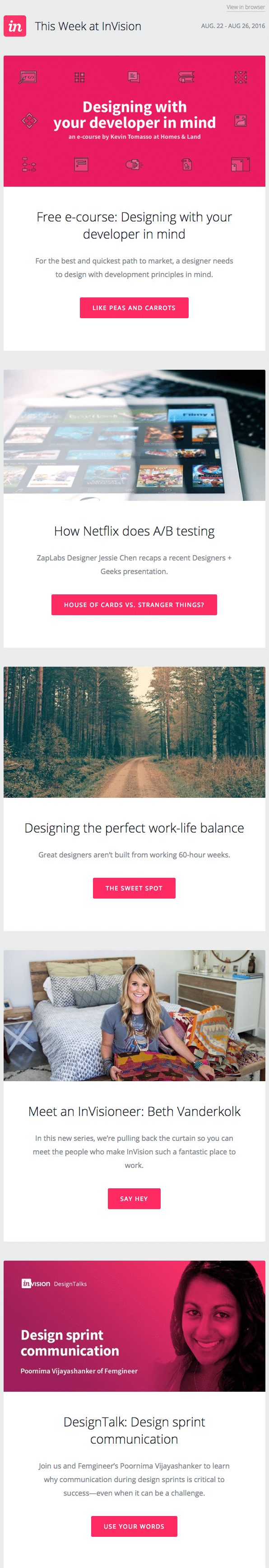 Email marketing campaign example by InVision for its weekly blog newsletter