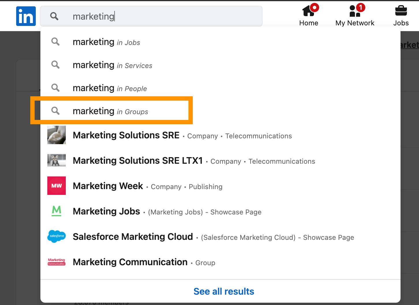 how to find a marketing group on linkedin search bar