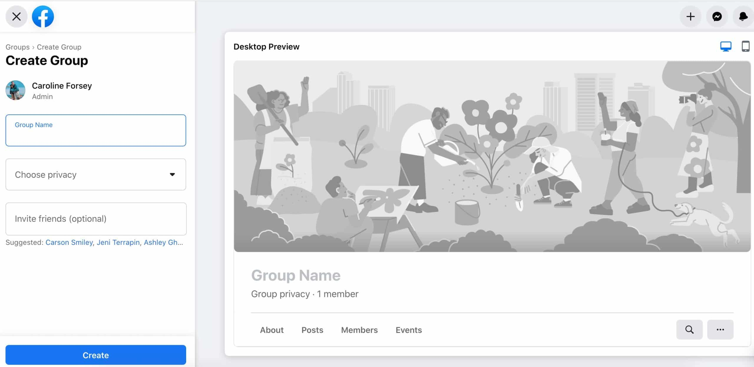 dashboard for creating a new facebook group