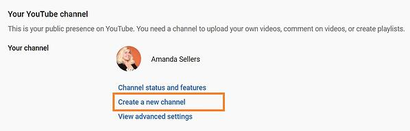 youtube create new channel