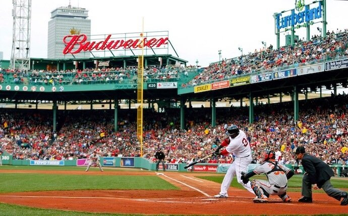 David Ortiz of the Boston Red Sox batting from home plate at Fenway Park