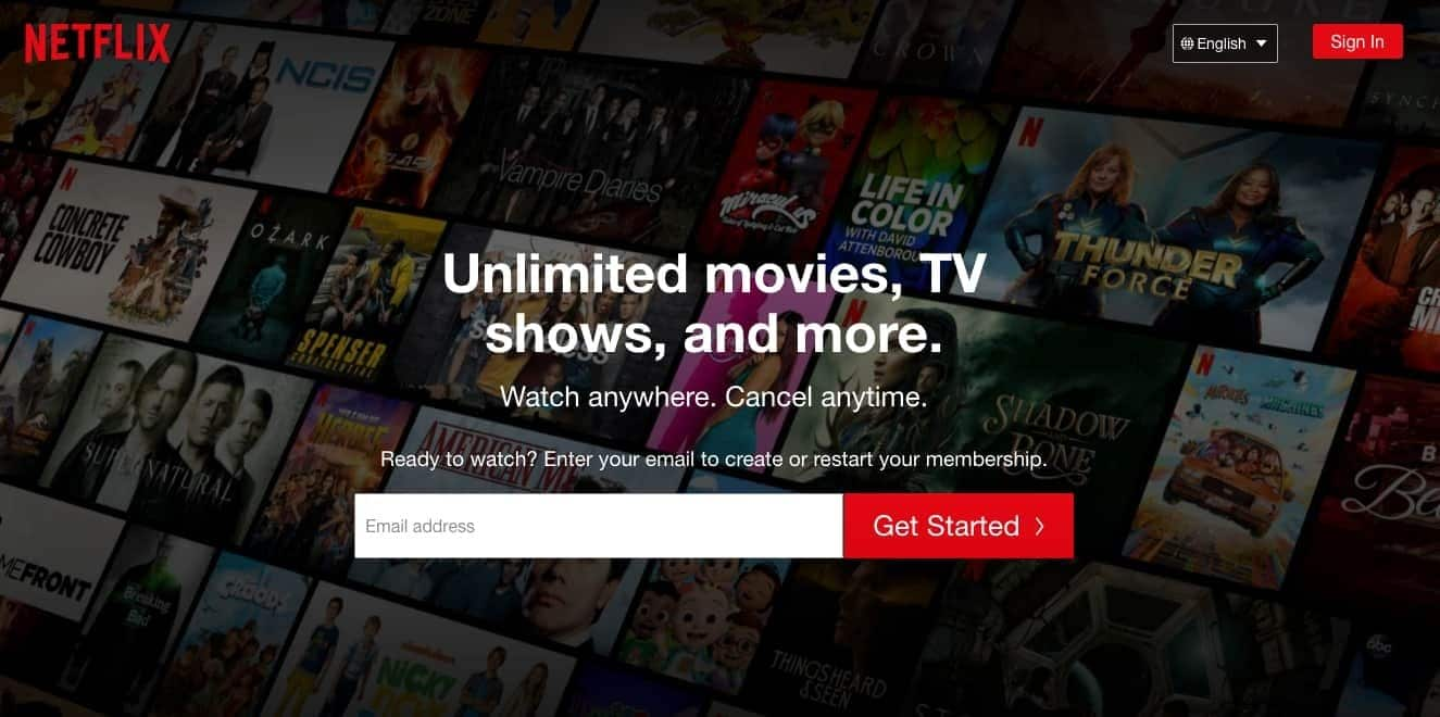visual hierarchy size example from Netflix