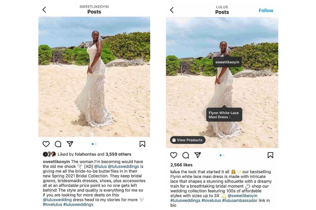 Example of influencer cross promotion on Instagram